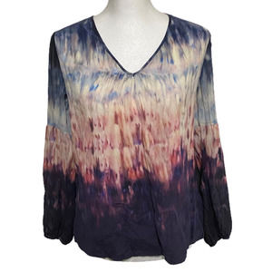 Ecru Silk Coddington Ombre Blouse S